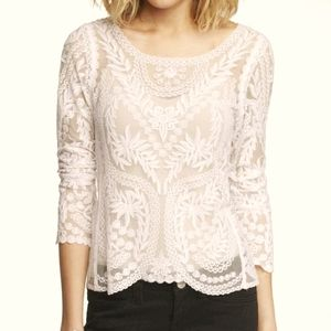 Express   Lace embroidered top